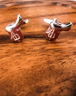 Equestrian Saddle Cuff Links- Brown