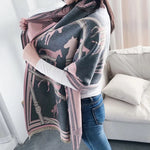 Reversible Equestrian Shawl- Pink
