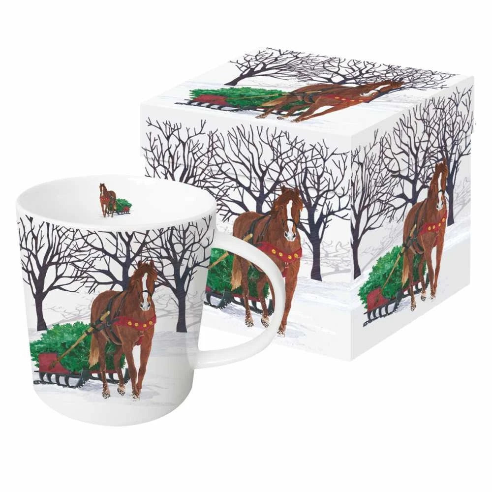 Winter Horse Sleigh Holiday Mug