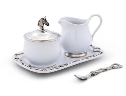 Equestrian Sugar and Creamer Set