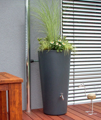 Rainbowl Flower 180 Litre Waterbutt with Integrated Planter - Slate
