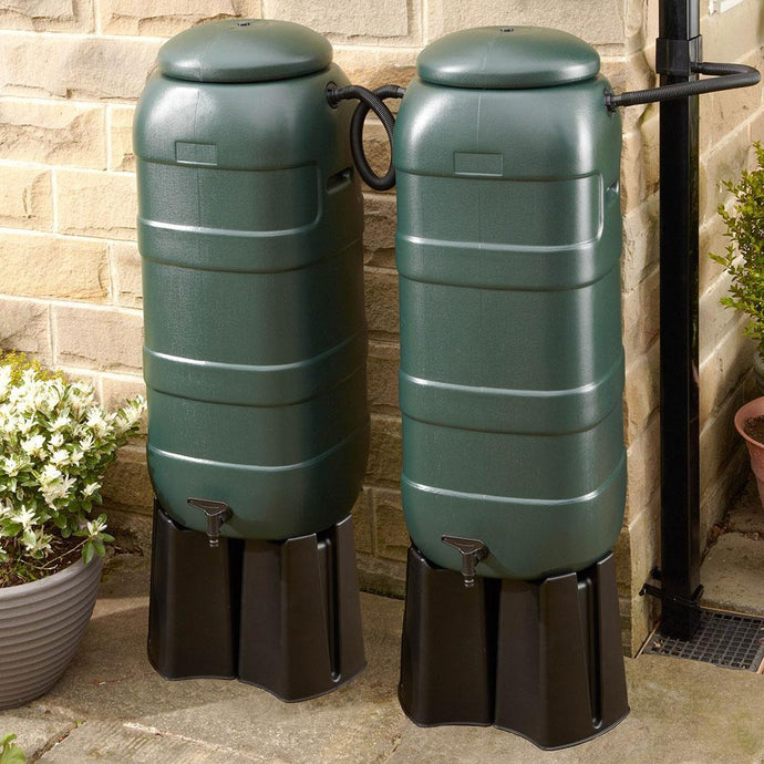 2 x 100 Litre Slimline Mini Rainsaver Double Kit - including Stands and Connectors