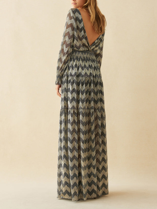 Glitter maxi-jurk met decolleté OF open rug