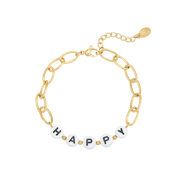 Armband met quote 'HAPPY'