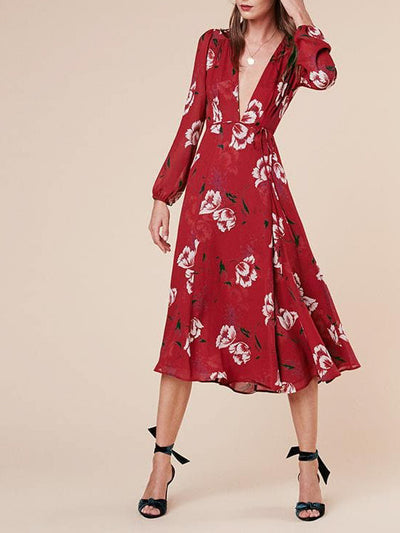 Bloemenprint midi jurk - ASHLEY