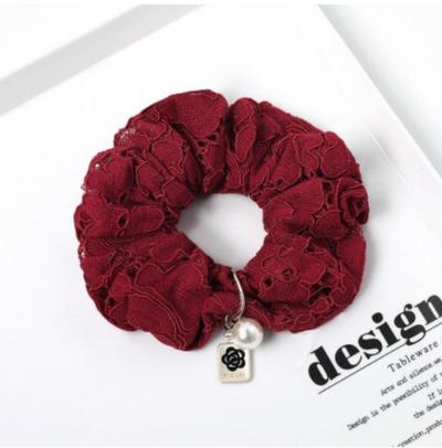 Scrunchie met kant - bordeaux
