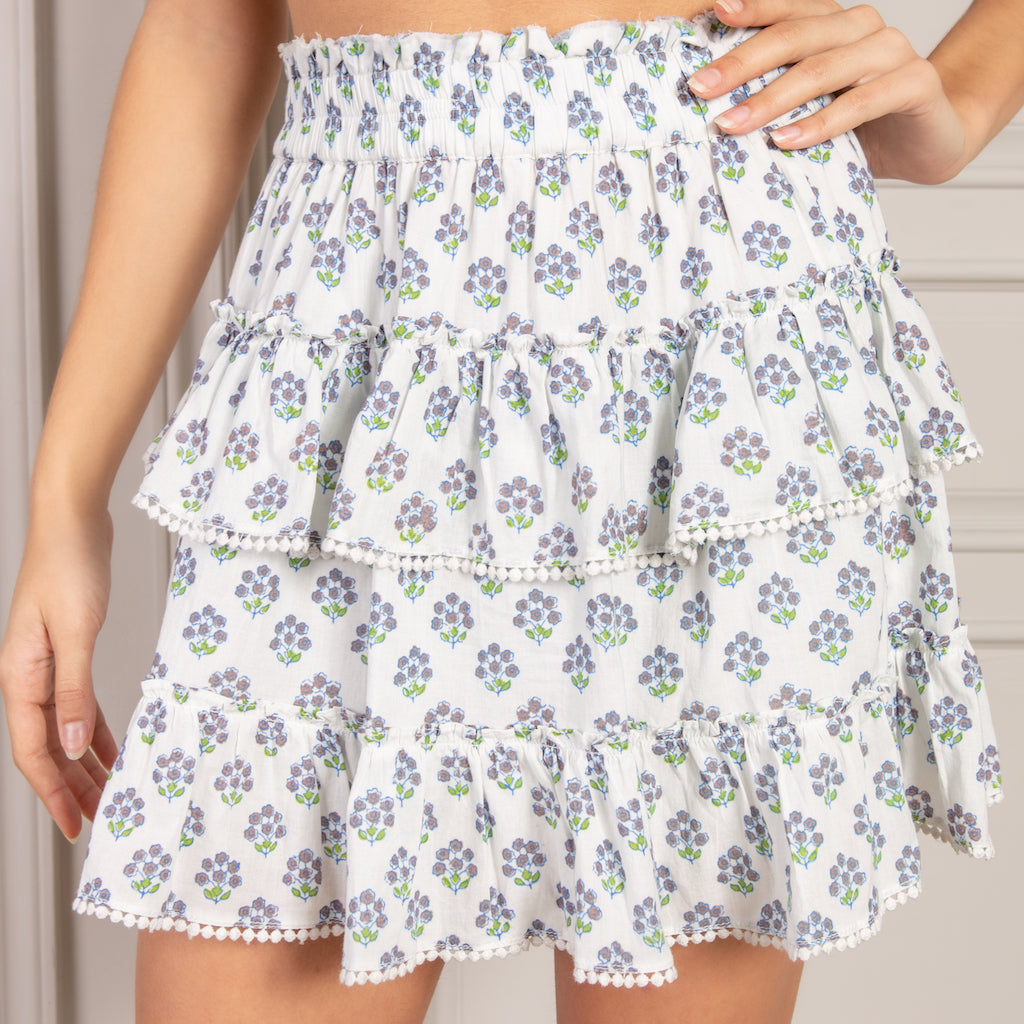 Valerie Mini Skirt in Purple Bouquet