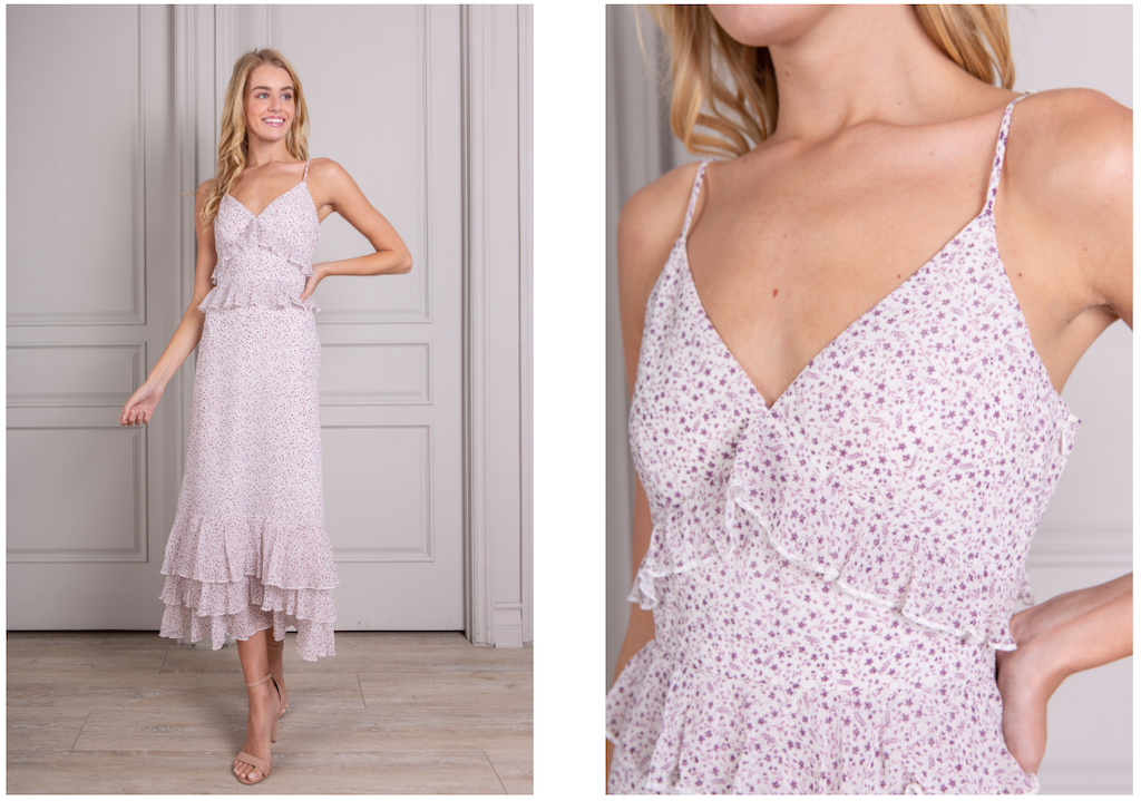Nora maxi dress in purple floral
