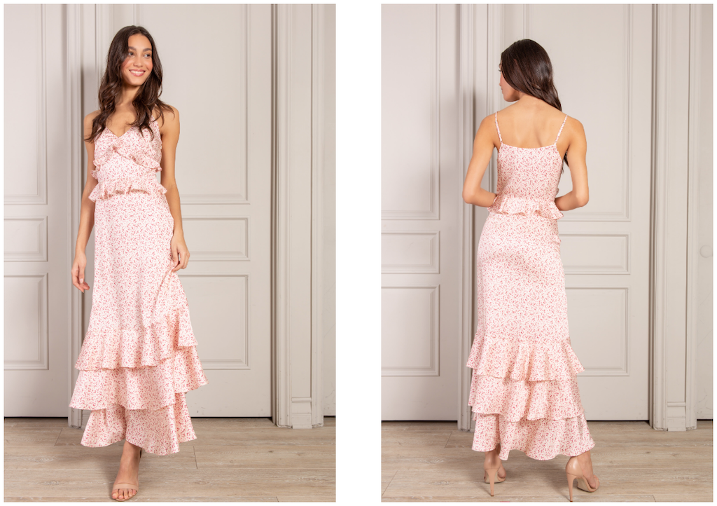 Nora maxi dress in pink floral