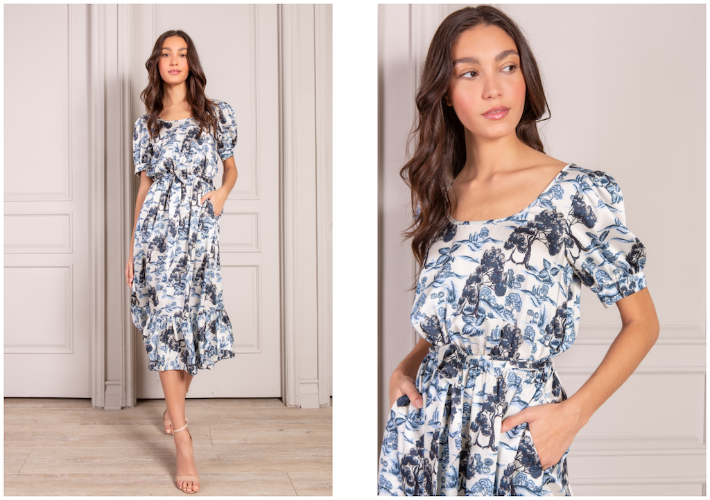Lucia midi dress in navy rolling hills print