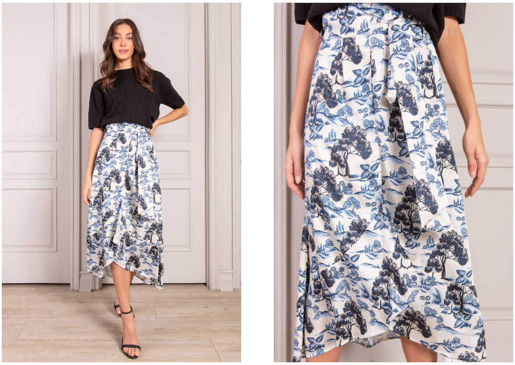 Adelaide Wrap Skirt in rolling hills print