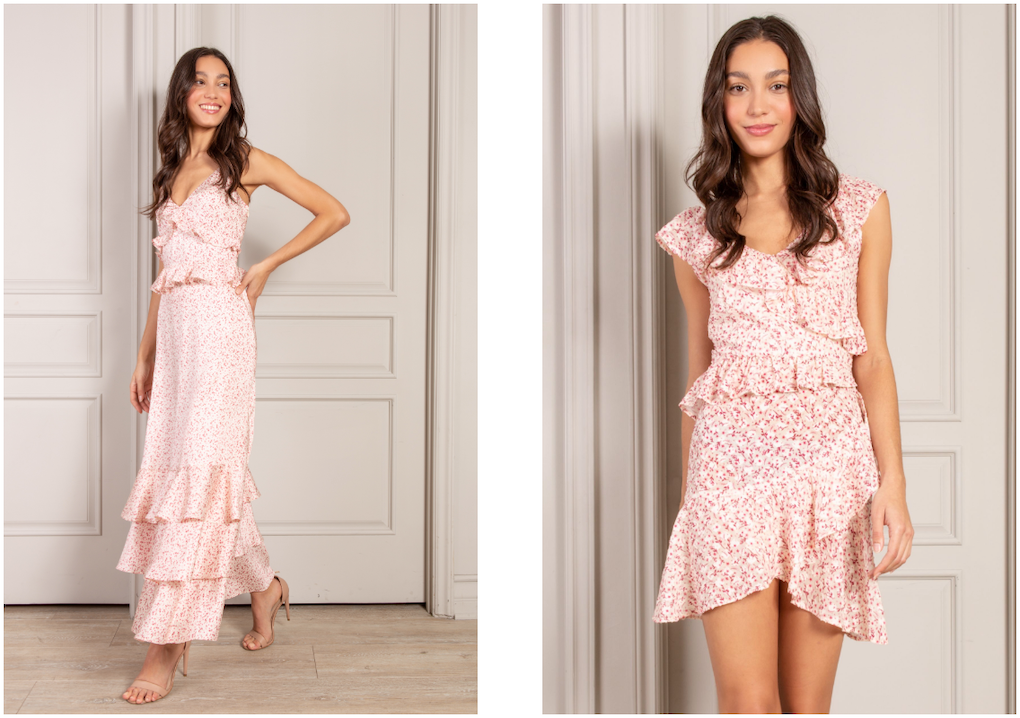 Pink Country Floral bestsellers maxi and mini