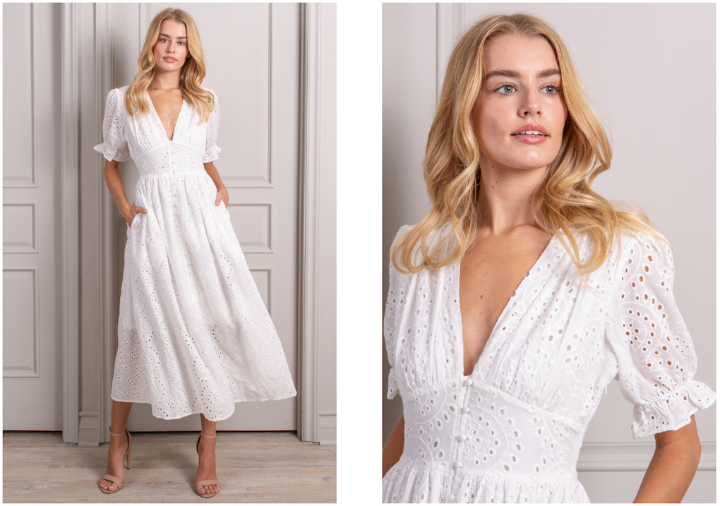 Bestselling valentine maxi dress in white with v-neck and puff sleeves