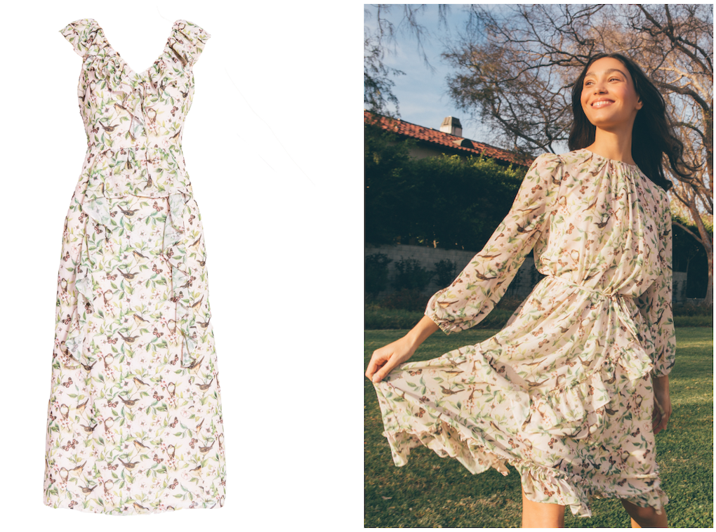Bestselling pink bird print dresses for spring