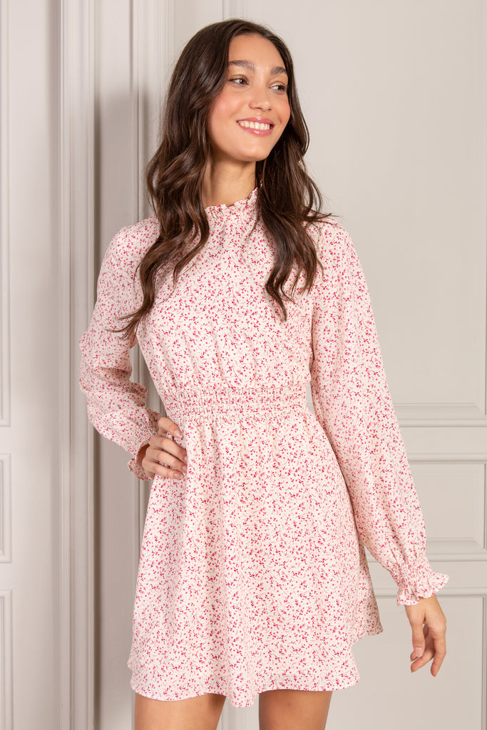 Julie Mini Dress in pink country floral