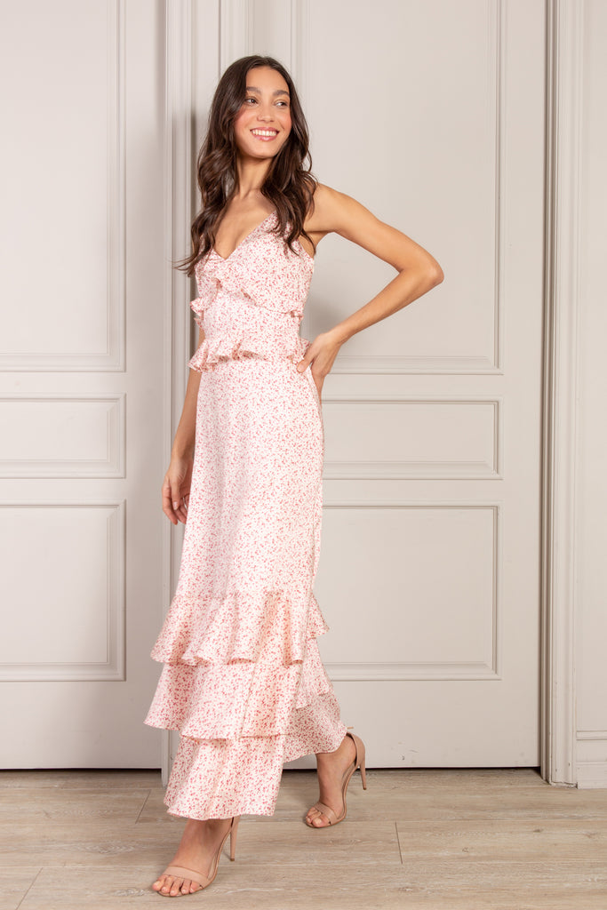 Nora Maxi Dress in pink country floral