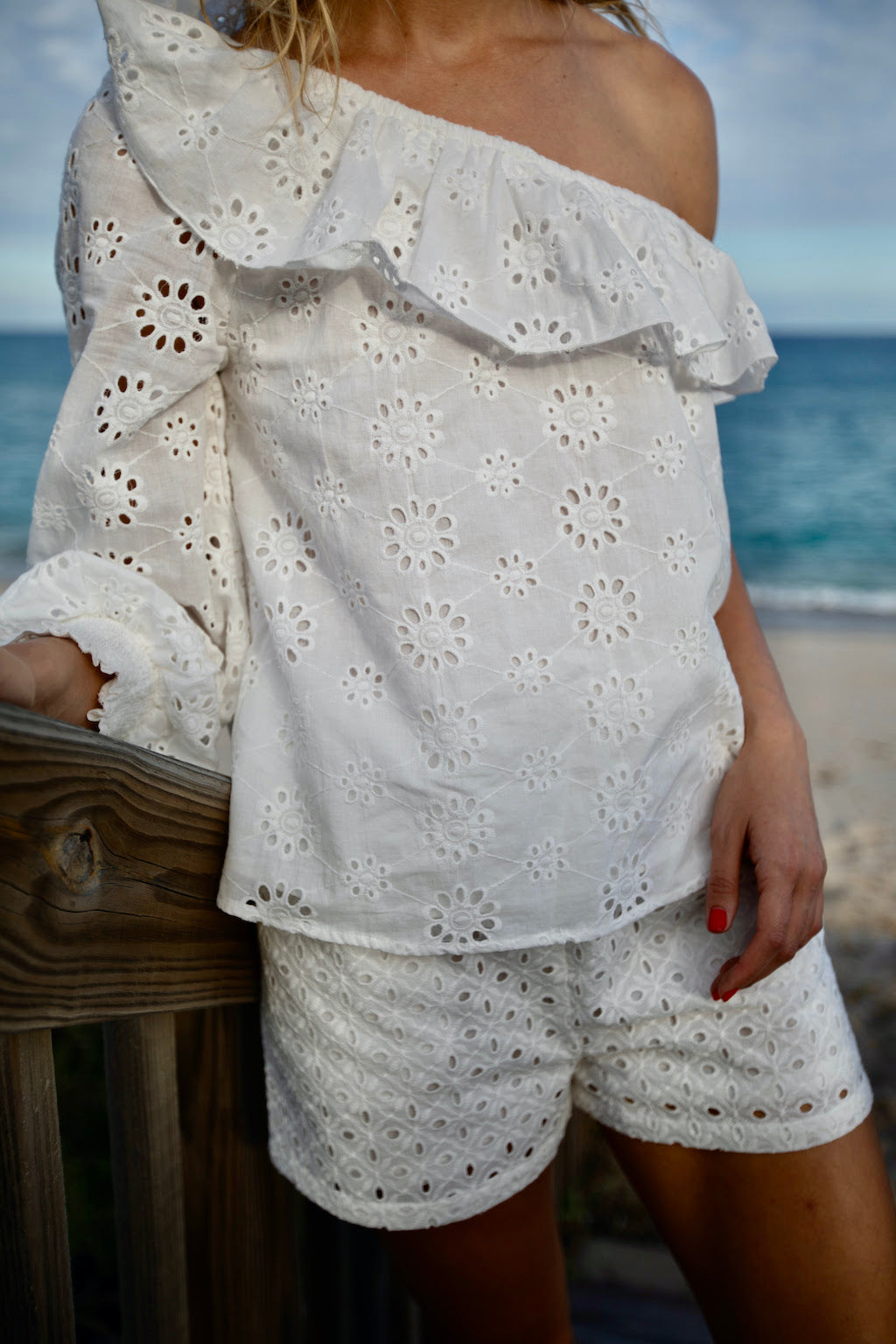 Clemence One Shoulder Top in White Eyelet