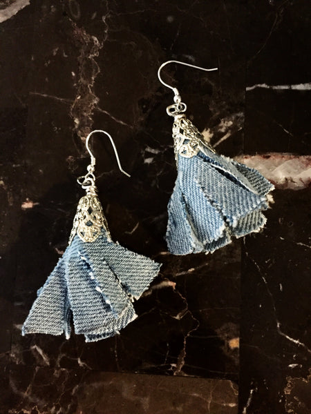 Denim Tassel Earrings