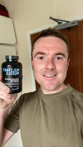 MILITARY MUSCLE CUSTOMER TESTIMONIAL PICTURE HOLDING SUPPLEMENT