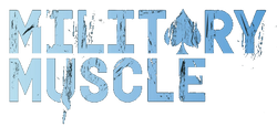 military muscle logo and typeface