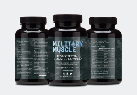 military muscle testosterone booster trio bottle