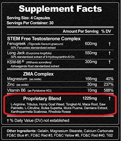 example of a proprietary blend on a supplement label