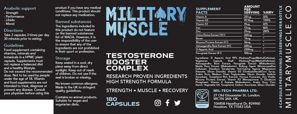 Military Muscle vegan testosterone booster ingredients label