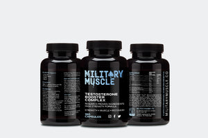 military muscle vegan test booster three bottles with ingredients panel