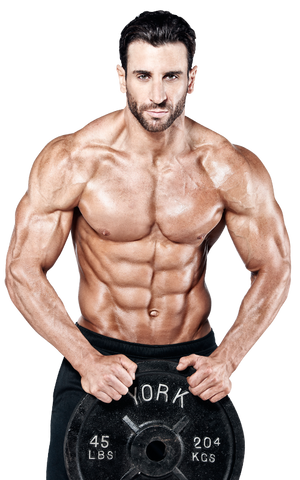 shirtless fitness man holding weight plate