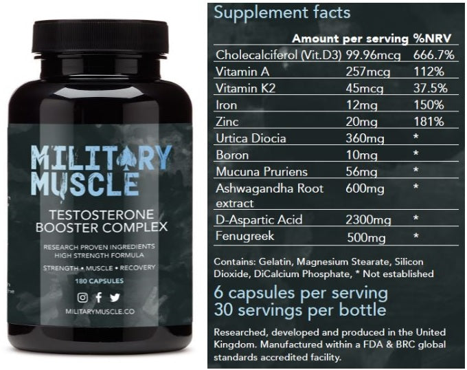 Military Muscle testosterone booster ingredients and bottle