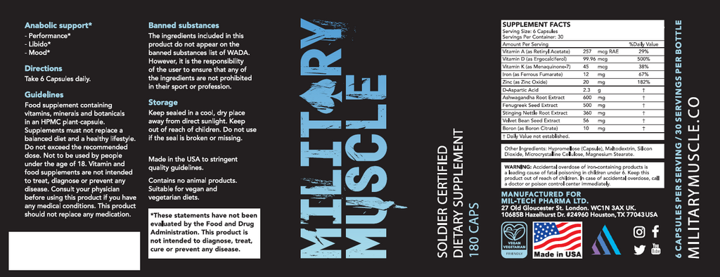 US version of Military Muscle bottle label