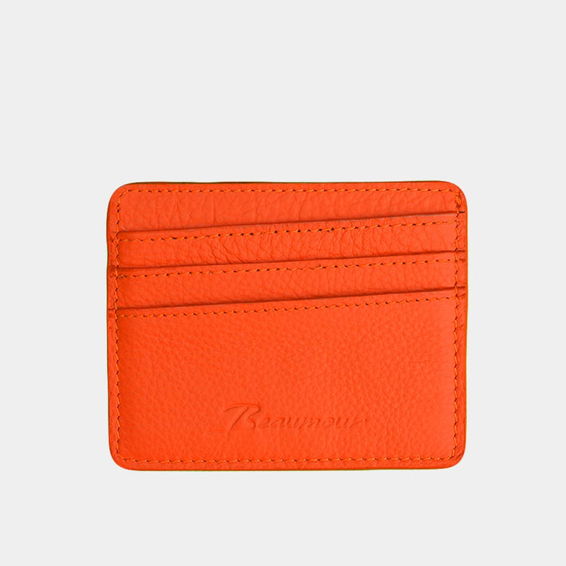 BEAUMOUR PORTE CARTES CUIR ORANGE ECOLOGIE