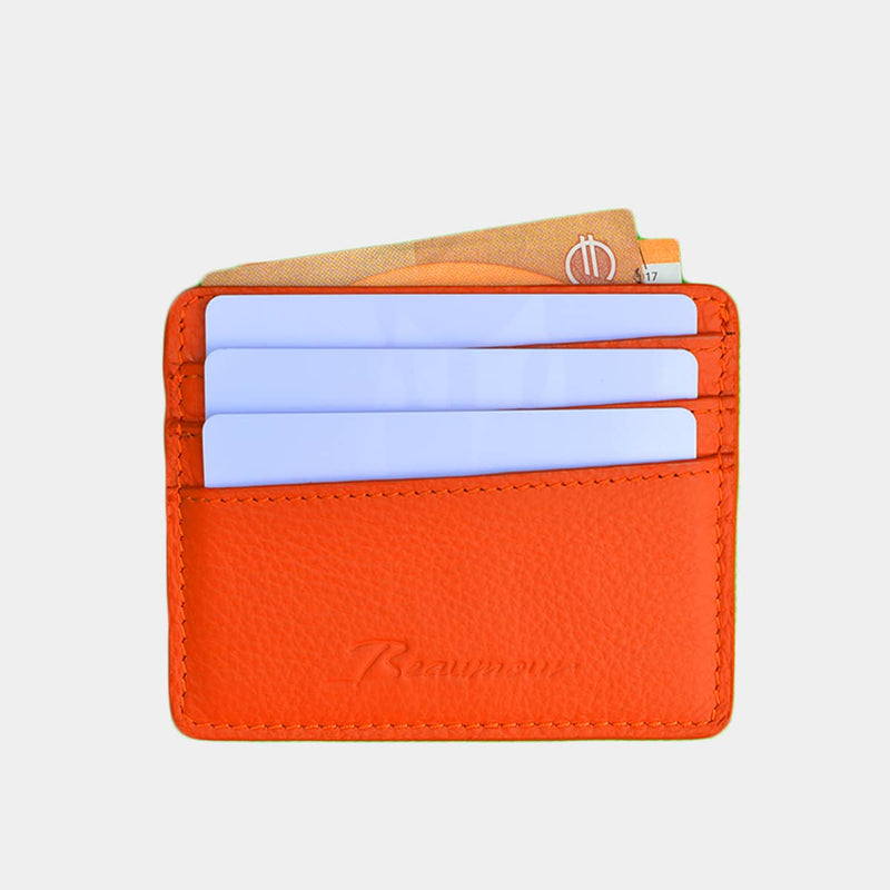 BEAUMOUR PORTE CARTES CUIR ORANGE