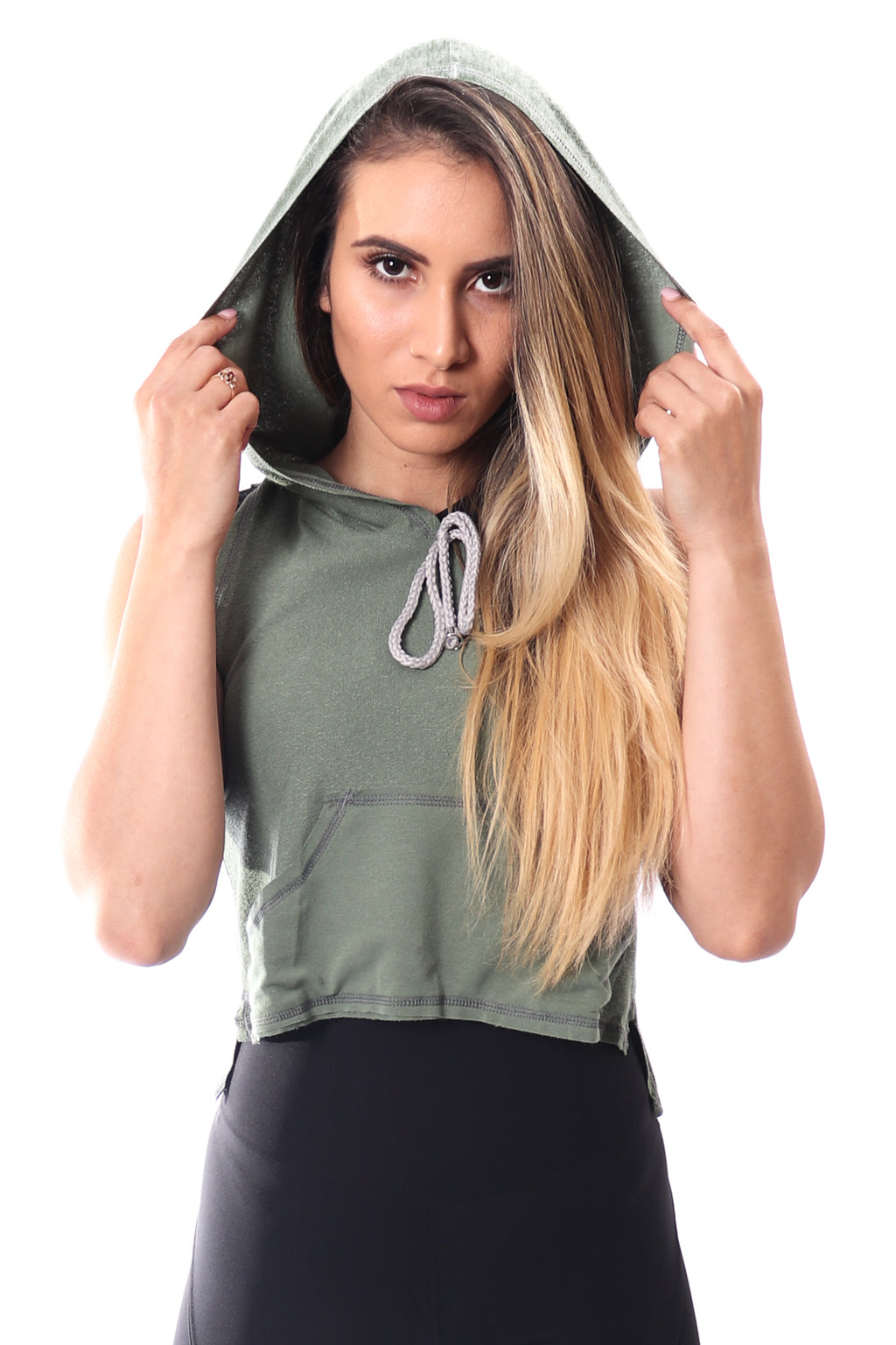 Melina Green Cropped Hoodie
