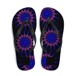 Brasilliance, Purple on Black, Men's & Women's Flip-Flops
