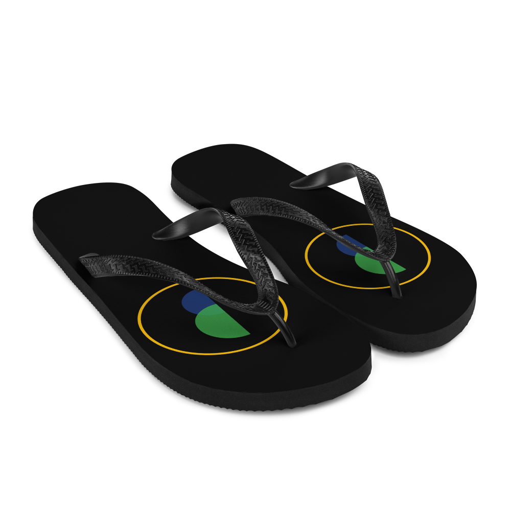 Brasilliance Logo on Black, Men's & Women's Flip-Flops