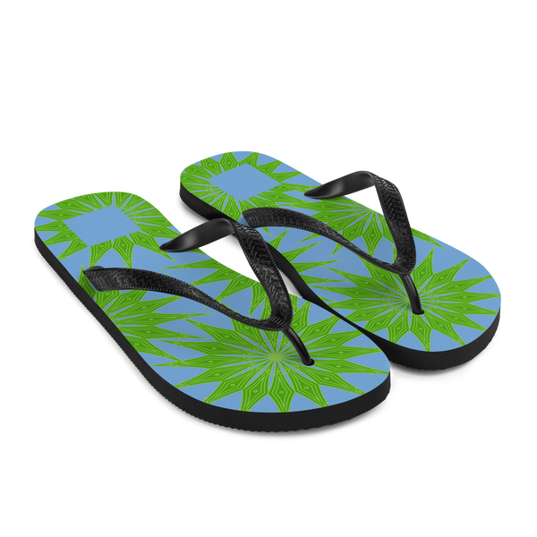 Brasilliance, Green on Blue, Men's & Women's Flip-Flops