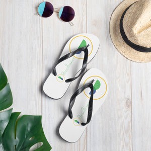 Brasilliance Logos on White, Men's & Women's Flip-Flops