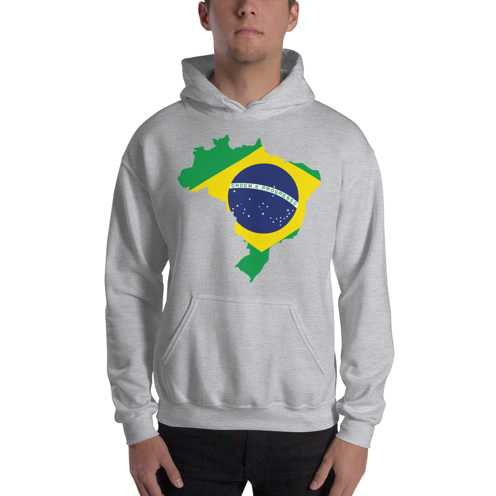 Brasil with Flag, Men's & Women's Hooded Sweatshirt