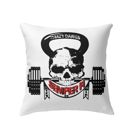 skull semper fi lift or die indoor outdoor pillows doggy lovers paradise - The Pillow Collection