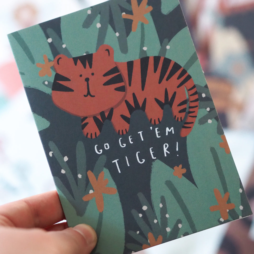 Go Get 'Em Tiger Greetings Card