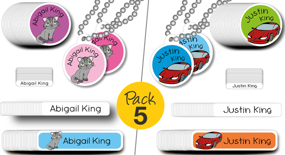 Value Pack 5 | SIBLING 'SHARE' PACK | custom stickers | share between 2 kids | dishwasher safe | Includes 4 custom Standard backpack TAGS