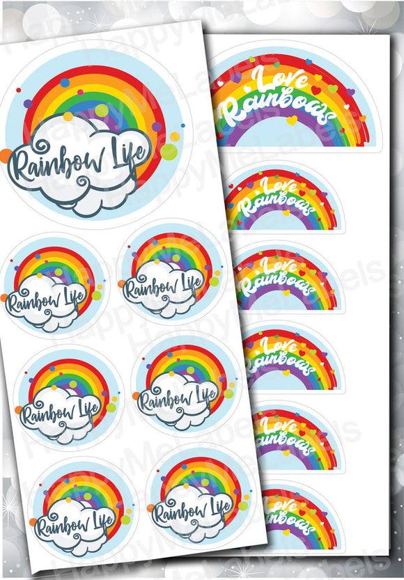 MIX | Rainbows Life & Love Rainbows mixed | 13 stickers | vinyl | Pride | laptop decor | journal