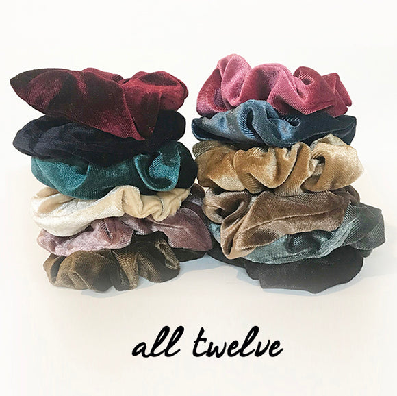 Velvet fabric Scrunchie sets | 3 scrunchies | 12 scrunchies |