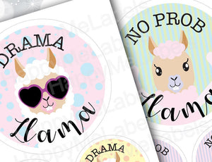 MIX (2 designs) | No Prob Llama | Drama Llama | Sticker Pack | Creations | 14 stickers| Vinyl stickers | laptop decor | journal