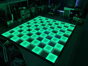 16x16ft 100 Panels 3D Infinity & Solid Top Lighting USA Wireless LED Disco Dance Floor – Strong, Durable, and Waterproof