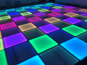 12x12ft 49 Panels 3D Infinity & Solid Top Lighting USA Wireless LED Disco Dance Floor – Strong, Durable, and Waterproof