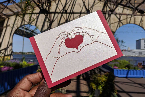 Heart Hands Laser Cut Card