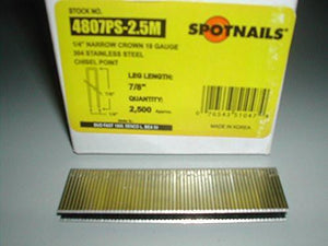 Spotnails 4807PS 18 Gauge Narrow Crown Stainless Steel Senco L Staples