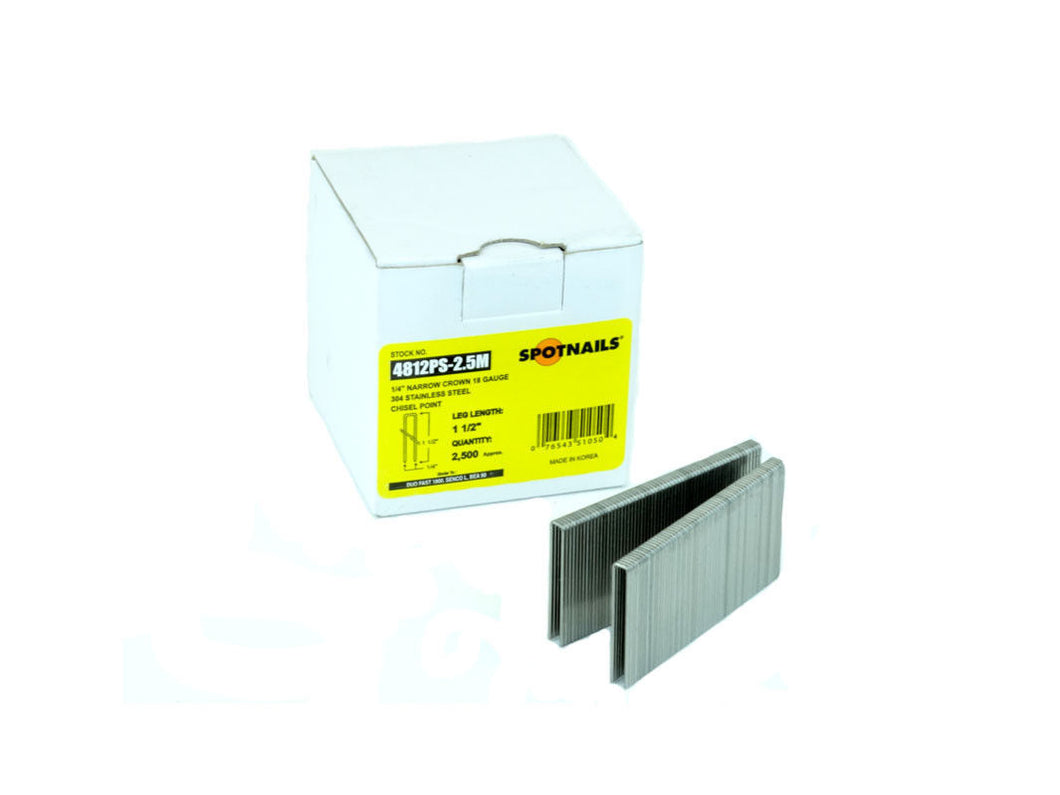 Spotnails 4812PS 18 Gauge Staples 1-1/2